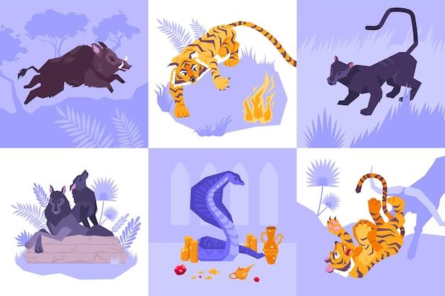 Seis cuadrados icono de mowgli con diferentes animales tigre lobos ilustración de serpiente puma