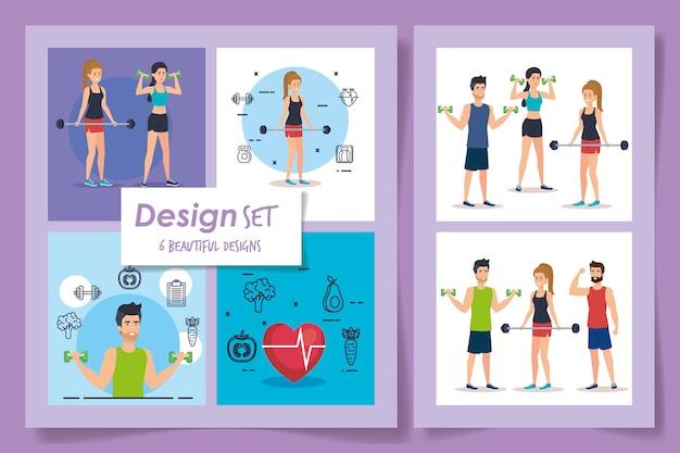 Seis diseños de atletas.