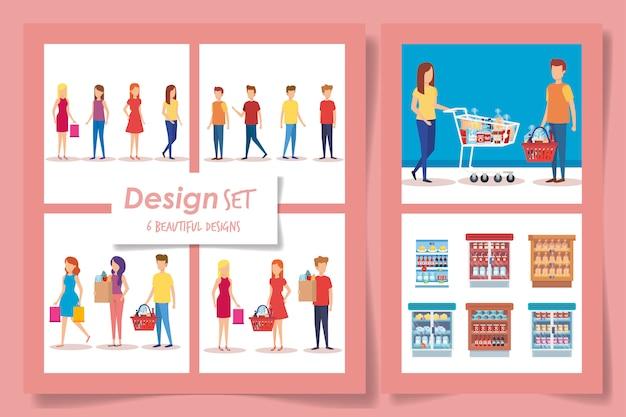Seis diseños de clientes de supermercados.