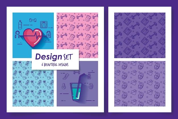 Seis diseños de estilo de vida saludable.