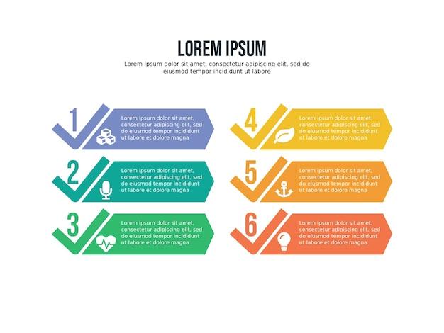 Seis elemento de infografía y plantilla de estadística