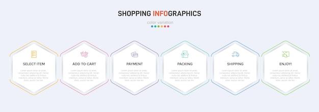 Seis elementos gráficos coloridos para los pasos sucesivos del proceso de compra con iconos y texto