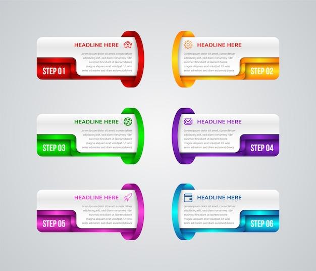 Seis elementos rectangulares multicolores separados con iconos de líneas finas de números y lugar para el texto
