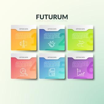 Seis elementos rectangulares multicolores separados con números, iconos de líneas finas y lugar para el texto.