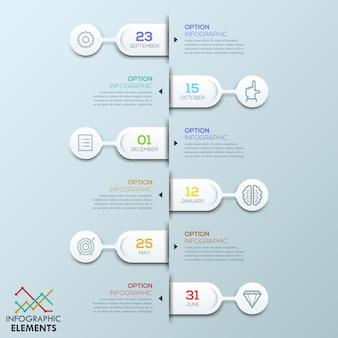Seis elementos redondeados conectados con cuadros de texto y pictogramas, plantilla de infografía