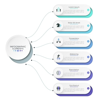 Seis elementos redondeados, opciones o características de papel blanco conectados al círculo principal por líneas. diseño de infografía moderna. ilustración de vector de presentación de negocios, folleto, informe.
