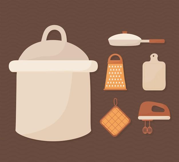 Seis equipos de cocina set iconos