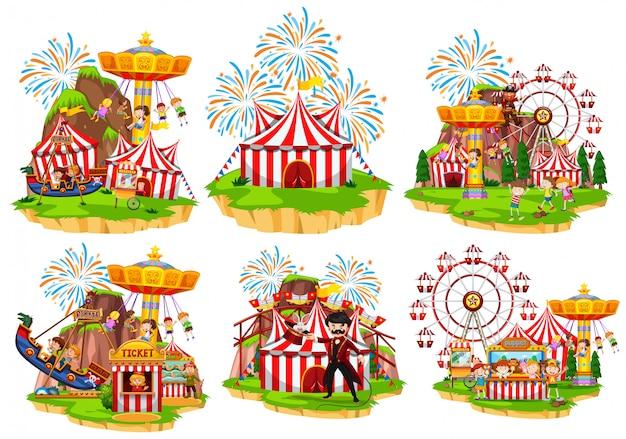 Seis escenas de circo con gente y atracciones.