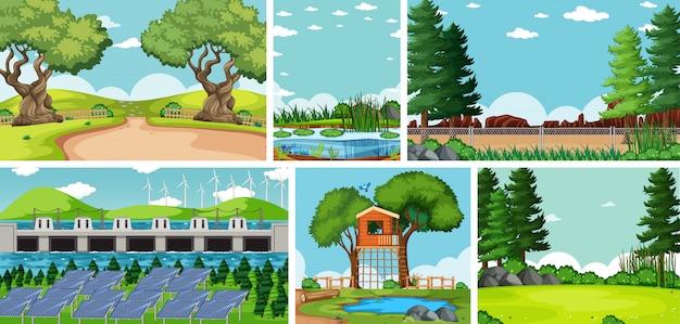 Seis escenas de la naturaleza con diferentes lugares.