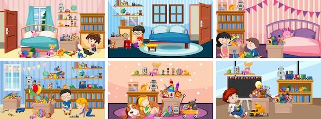 Seis escenas con niños jugando en diferentes habitaciones.