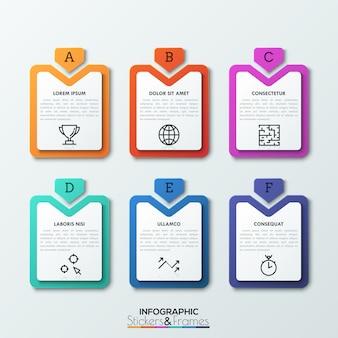 Seis etiquetas rectangulares multicolores con flechas con letras apuntando hacia ellas, cuadros de texto e iconos de líneas finas en el interior.