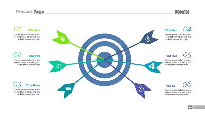 Seis flechas que golpean la plantilla de gráfico de proceso de destino. visualización de datos comerciales.