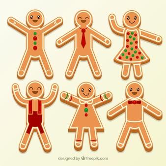 Seis galletas de hombre de jengibre vestidas