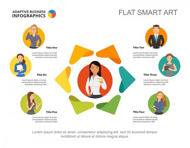 Seis gerentes compañía plantilla de gráfico de proceso. datos comerciales