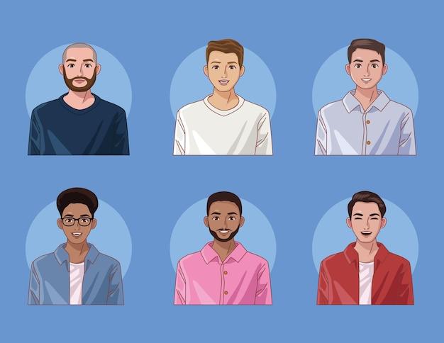 Seis hombres de diversidad
