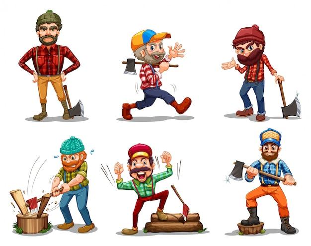 Seis hombres con hachas