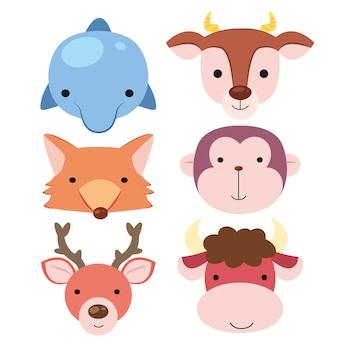 Seis iconos de cabeza de animal de dibujos animados lindo