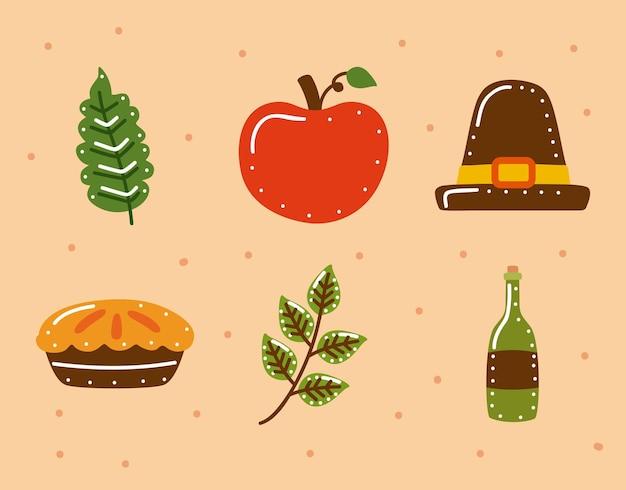 Seis iconos de celebración de acción de gracias