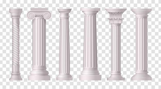 Seis iconos de columnas blancas antiguas aisladas y realistas en la ilustración de superficie transparente