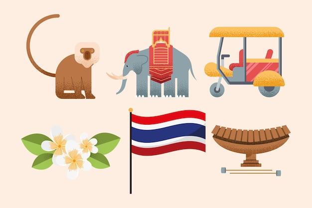 Seis iconos de conjunto de país de tailandia