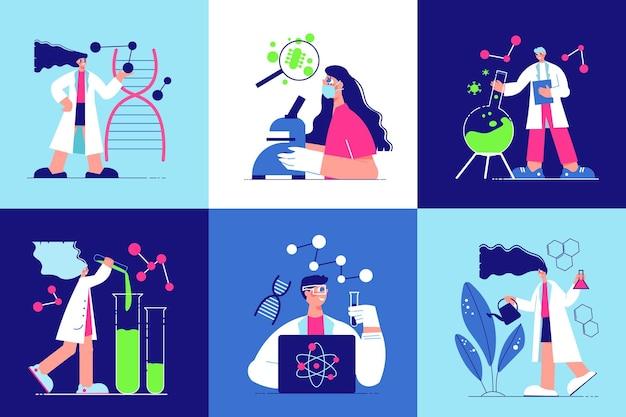 Seis iconos cuadrados aislados con personajes humanos de dibujos animados que trabajan en el laboratorio de ciencias