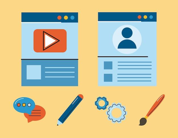 Seis iconos de diseño web