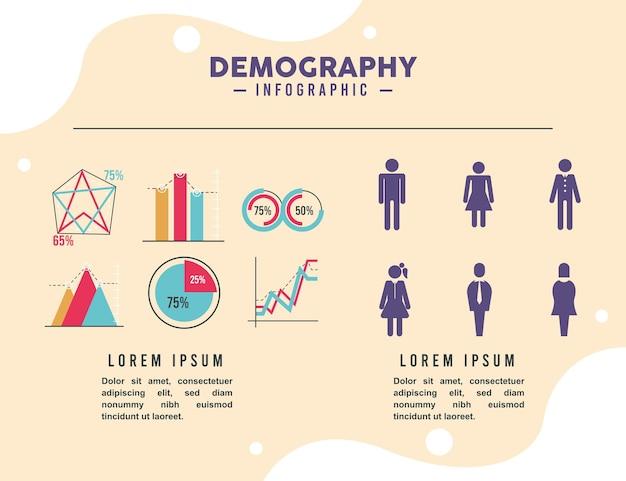 Seis iconos de infografía de demografía