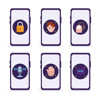 Seis iconos de verificación biométrica