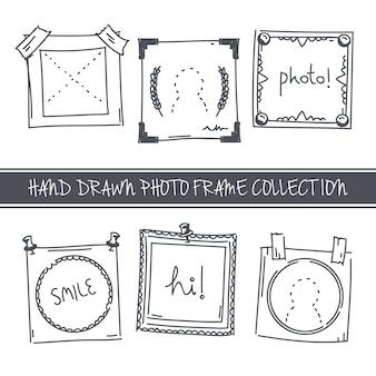 Seis lindos marcos de fotos dibujados a mano
