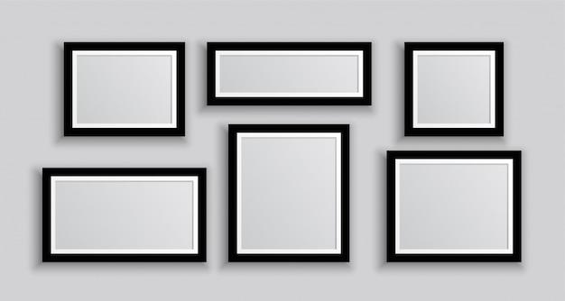 Seis marcos de fotos de pared en diferentes tamaños.