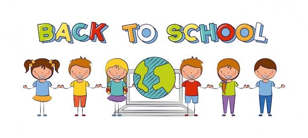 Seis niños de regreso a la escuela con la ilustración del mundo