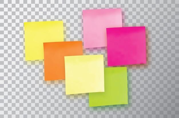 Seis notas adhesivas de colores. plantilla para tus proyectos.