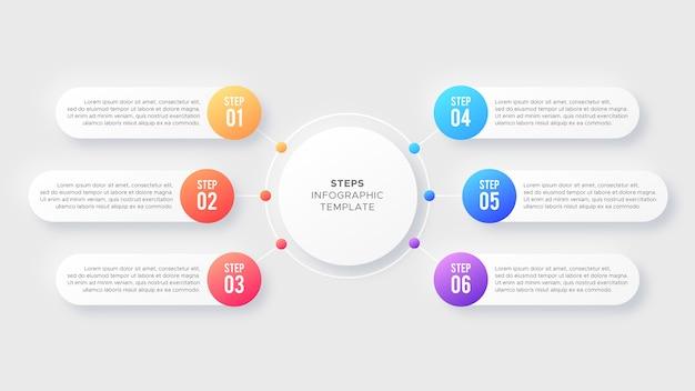Seis opciones de 6 pasos círculo plantilla de diseño moderno de infografía empresarial