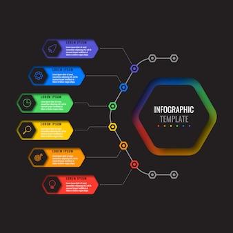 Seis opciones de diseño de plantilla de diseño infográfico con elementos hexagonales. diagrama de proceso de negocio para folleto, pancarta, informe anual y presentación
