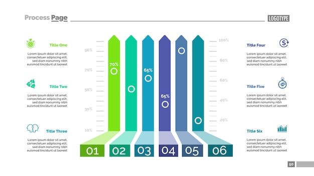 Seis opciones de plantilla de gráfico de barras para la presentación.