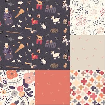 Seis patrones de tema sin costuras en colores moderados