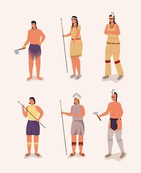 Seis personajes aborígenes.