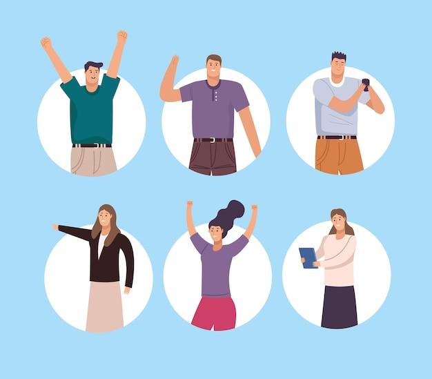 Seis personajes de avatares de personas de negocios.