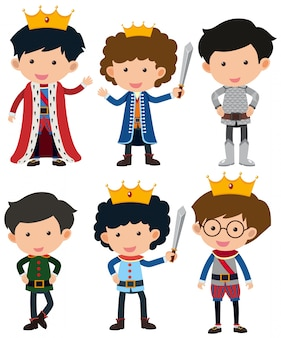 Seis personajes de príncipe y caballero
