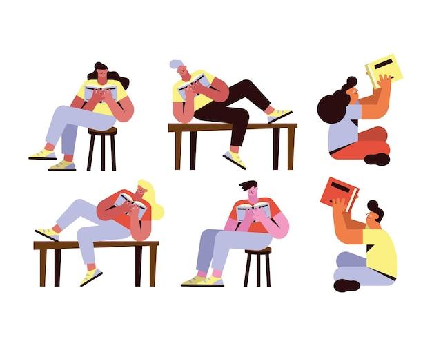 Seis personas leyendo personajes de libros.