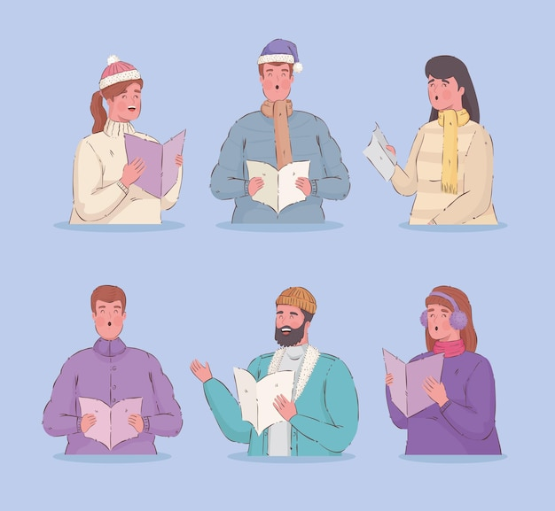 Seis personas vestidas con ropa de invierno cantando villancicos