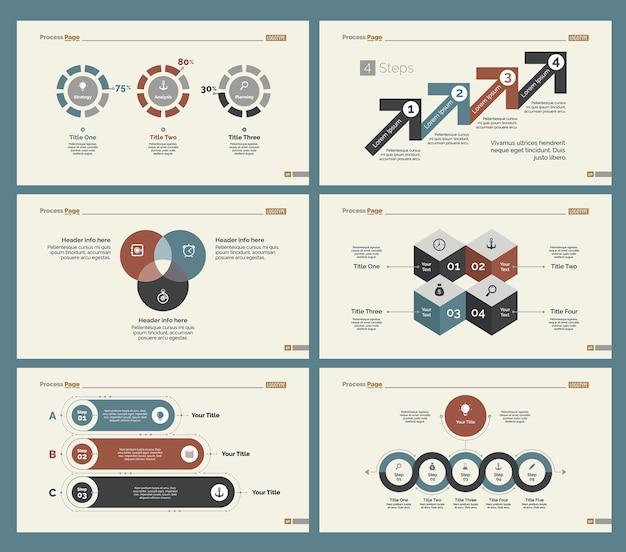 Seis plantillas de diapositivas de flujo de trabajo