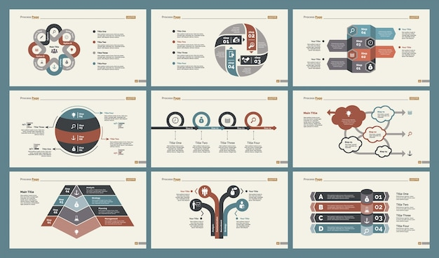 Seis plantillas de entrenamiento plantillas de diapositivas conjunto