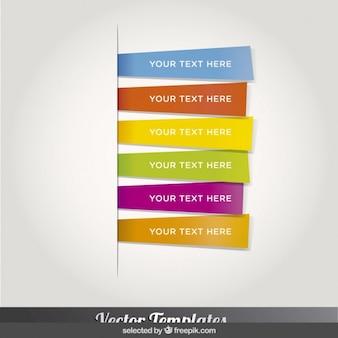 Seis plantillas de marcadores de colores