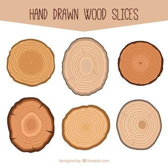 Seis rebanadas de madera dibujadas a mano