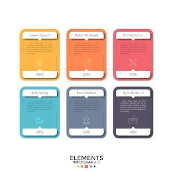 Seis rectángulos o tarjetas separados de colores con iconos lineales, lugar para el texto y la indicación del año. concepto de representación de información histórica. plantilla de diseño infográfico. ilustración vectorial.
