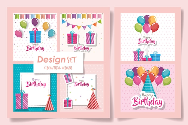 Seis de tarjetas feliz cumpleaños y decoración