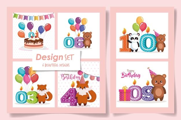Seis de tarjetas feliz cumpleaños con lindos animales