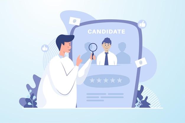 Selección de candidatos para el concepto de ilustración de contratación en línea