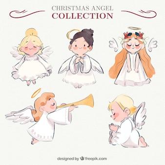 Selección de cinco ángeles adorables Vector Premium